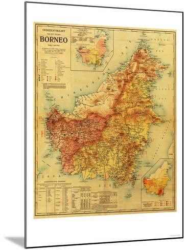 Borneo - Panoramic Map-Lantern Press-Mounted Art Print