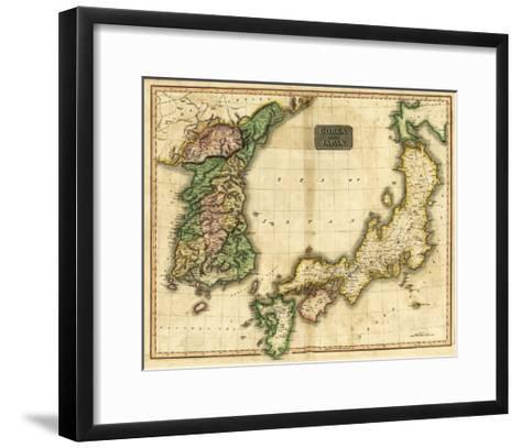 Korea and Japan - Panoramic Map-Lantern Press-Framed Art Print