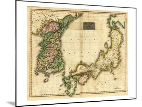 Korea and Japan - Panoramic Map-Lantern Press-Mounted Art Print