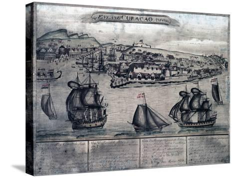 Curacao - Panoramic Map-Lantern Press-Stretched Canvas Print