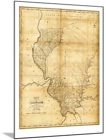 Illinois - Panoramic Map-Lantern Press-Mounted Art Print