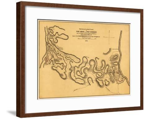 Battle of Fort Henry - Civil War Panoramic Map-Lantern Press-Framed Art Print