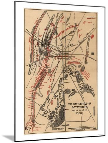 Battle of Gettysburg - Civil War Panoramic Map-Lantern Press-Mounted Art Print