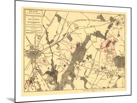 Battle of Gettysburg - Civil War Panoramic Map-Lantern Press-Mounted Art Print