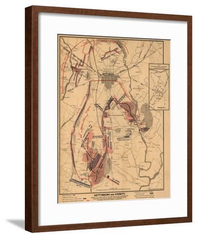 Battle of Gettysburg - Civil War Panoramic Map-Lantern Press-Framed Art Print