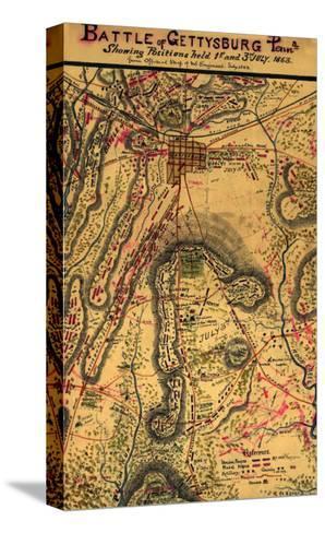 Battle of Gettysburg - Civil War Panoramic Map-Lantern Press-Stretched Canvas Print