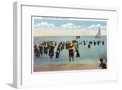Block Island, Rhode Island - Bathers at the Beach-Lantern Press-Framed Art Print