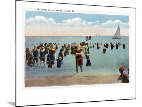 Block Island, Rhode Island - Bathers at the Beach-Lantern Press-Mounted Art Print