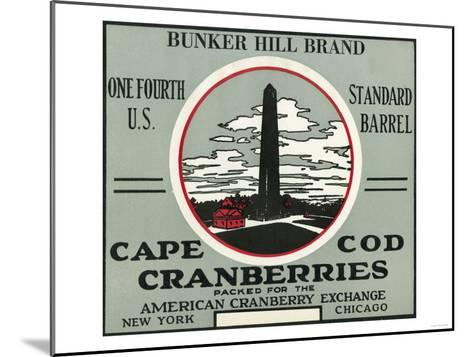 Cape Cod, Massachusetts - Bunker Hill Brand Cranberry Label-Lantern Press-Mounted Art Print
