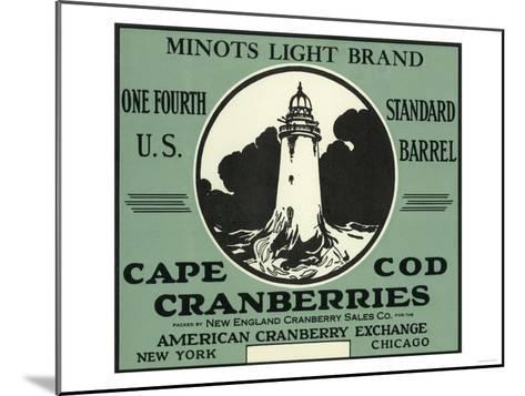 Cape Cod, Massachusetts - Minots Light Brand Cranberry Label-Lantern Press-Mounted Art Print