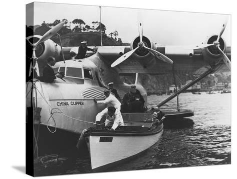 Glenn Martin with China Clipper - Catalina 25th Anniversary Photograph-Lantern Press-Stretched Canvas Print
