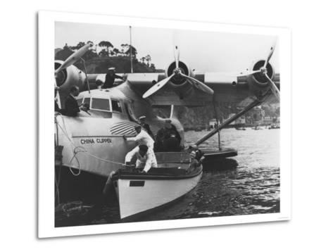 Glenn Martin with China Clipper - Catalina 25th Anniversary Photograph-Lantern Press-Metal Print