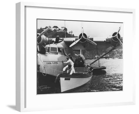 Glenn Martin with China Clipper - Catalina 25th Anniversary Photograph-Lantern Press-Framed Art Print