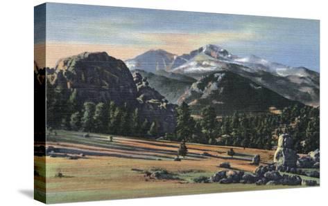 Estes Park, Colorado - Longs Peak View-Lantern Press-Stretched Canvas Print