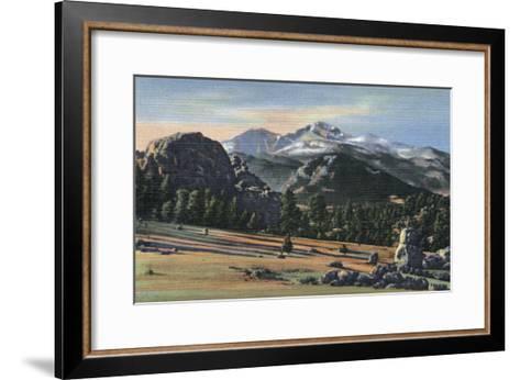 Estes Park, Colorado - Longs Peak View-Lantern Press-Framed Art Print
