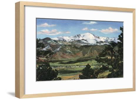 Colorado Springs, CO - Pikes Peak Towering Over Town-Lantern Press-Framed Art Print