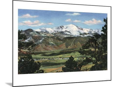 Colorado Springs, CO - Pikes Peak Towering Over Town-Lantern Press-Mounted Art Print
