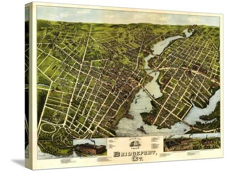Bridgeport, Connecticut - Panoramic Map-Lantern Press-Stretched Canvas Print