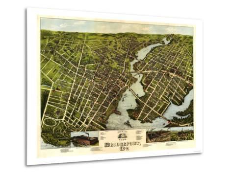 Bridgeport, Connecticut - Panoramic Map-Lantern Press-Metal Print