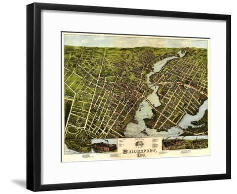 Bridgeport, Connecticut - Panoramic Map-Lantern Press-Framed Art Print