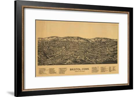 Bristol, Connecticut - Panoramic Map-Lantern Press-Framed Art Print