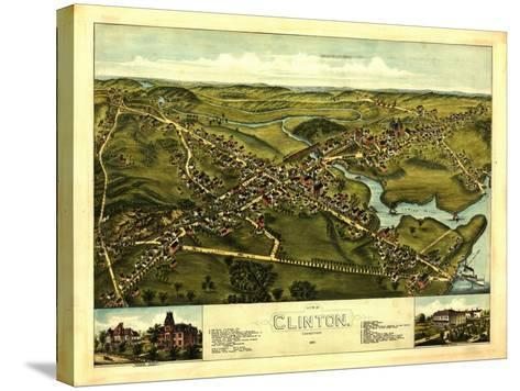 Clinton, Connecticut - Panoramic Map-Lantern Press-Stretched Canvas Print