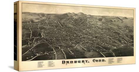 Danbury, Connecticut - Panoramic Map-Lantern Press-Stretched Canvas Print