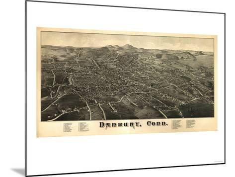 Danbury, Connecticut - Panoramic Map-Lantern Press-Mounted Art Print
