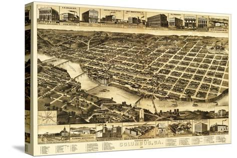 Columbus, Georgia - Panoramic Map-Lantern Press-Stretched Canvas Print