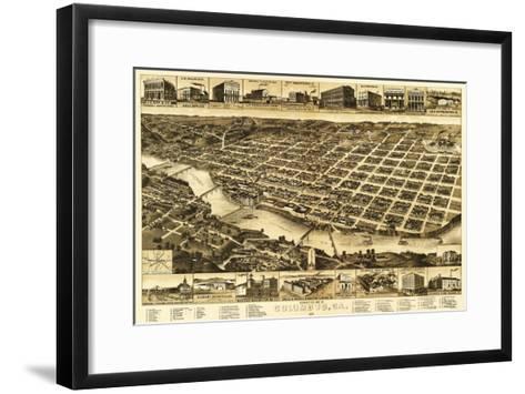 Columbus, Georgia - Panoramic Map-Lantern Press-Framed Art Print