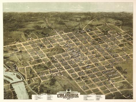 Columbia, South Carolina - Panoramic Map-Lantern Press-Stretched Canvas Print