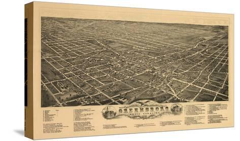 Greensboro, North Carolina - Panoramic Map-Lantern Press-Stretched Canvas Print