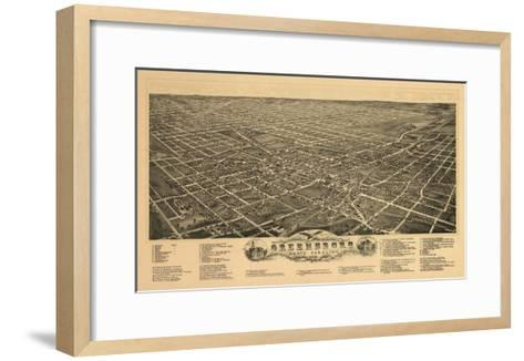 Greensboro, North Carolina - Panoramic Map-Lantern Press-Framed Art Print