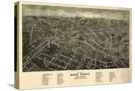 High Point, North Carolina - Panoramic Map-Lantern Press-Stretched Canvas Print