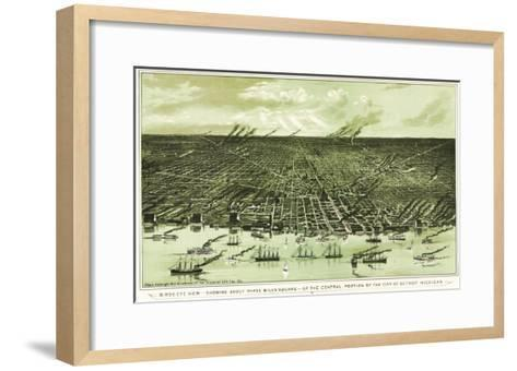 Detroit, Michigan - Panoramic Map-Lantern Press-Framed Art Print