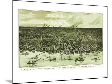 Detroit, Michigan - Panoramic Map-Lantern Press-Mounted Art Print