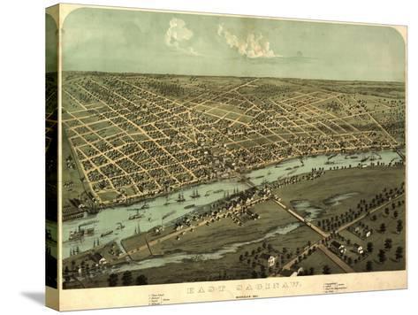 East Saginaw, Michigan - Panoramic Map-Lantern Press-Stretched Canvas Print
