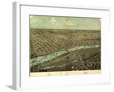 East Saginaw, Michigan - Panoramic Map-Lantern Press-Framed Art Print