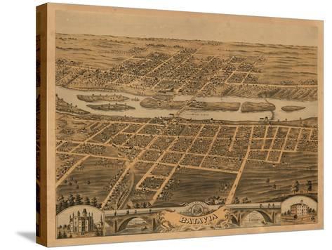 Batavia, Illinois - Panoramic Map-Lantern Press-Stretched Canvas Print