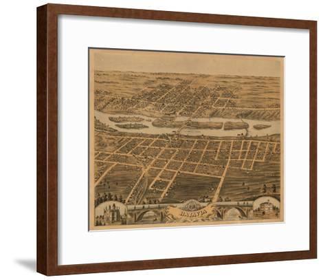 Batavia, Illinois - Panoramic Map-Lantern Press-Framed Art Print