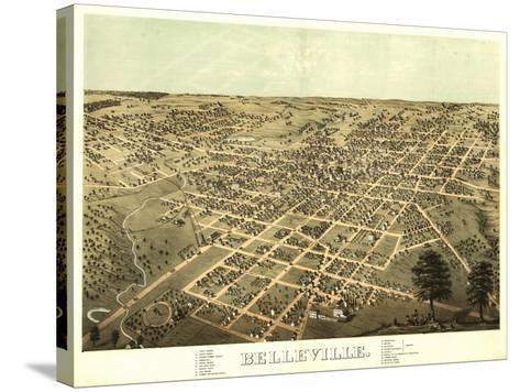 Belleville, Illinois - Panoramic Map-Lantern Press-Stretched Canvas Print