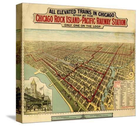 Chicago, Illinois - Panoramic Map-Lantern Press-Stretched Canvas Print