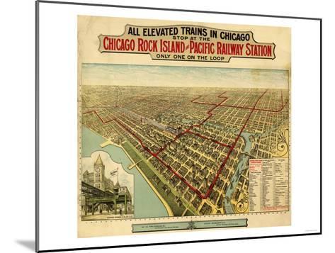 Chicago, Illinois - Panoramic Map-Lantern Press-Mounted Art Print