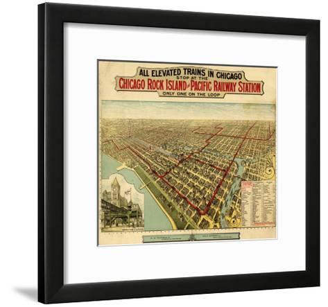 Chicago, Illinois - Panoramic Map-Lantern Press-Framed Art Print