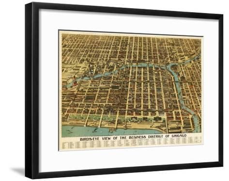 Chicago, Illinois - Panoramic Map-Lantern Press-Framed Art Print