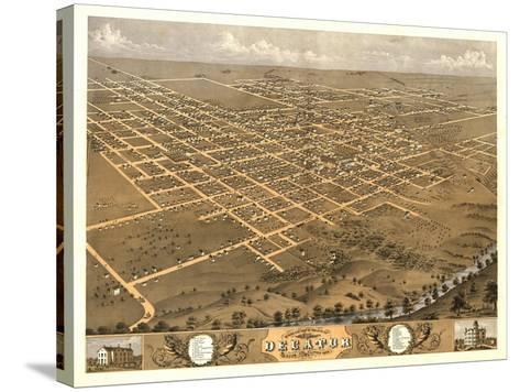 Decatur, Illinois - Panoramic Map-Lantern Press-Stretched Canvas Print