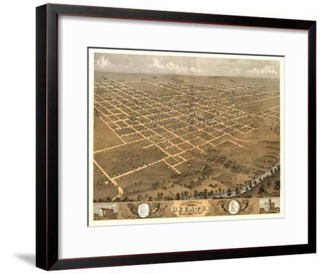 Decatur, Illinois - Panoramic Map-Lantern Press-Framed Art Print