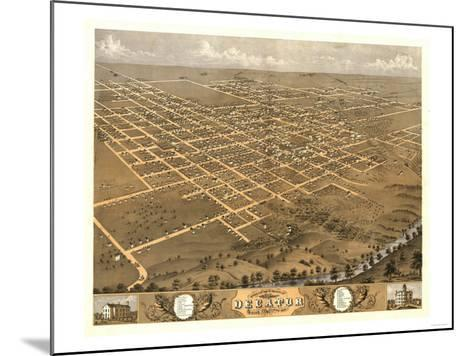 Decatur, Illinois - Panoramic Map-Lantern Press-Mounted Art Print