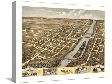 Geneva, Illinois - Panoramic Map-Lantern Press-Stretched Canvas Print