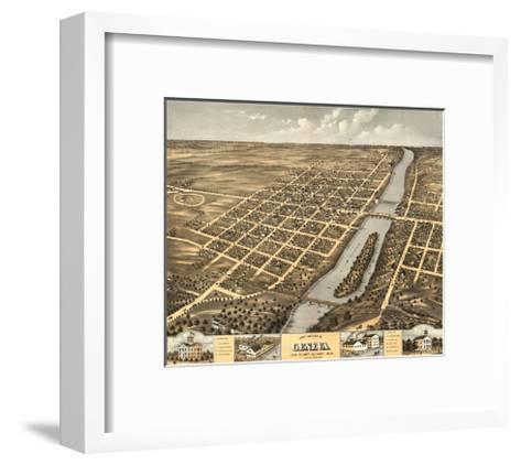 Geneva, Illinois - Panoramic Map-Lantern Press-Framed Art Print